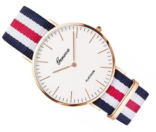 Zegarek damski męski Geneva złoty nylonowy pasek