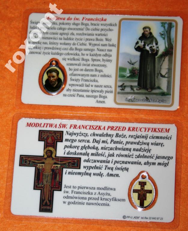 Svätý Franciszek - Laminovaný obrázok + Medaila