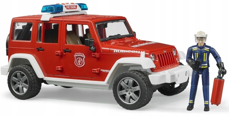 BRUDER 02528 Jeep Wrangler FIRE BRIGADE so figúrkou