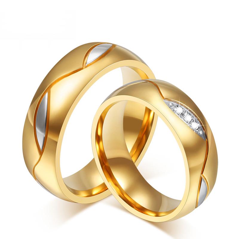 Item CUTE WEDDING RINGS GOLD STEEL 316L PAIR