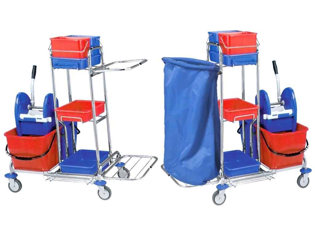 Тележка для уборки 2x17L, каркас корзины, 3 корзины