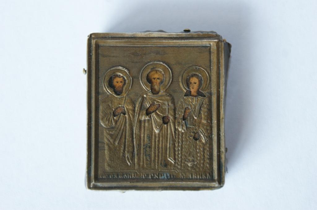 ** Miniatúrne cestovné ikony Rusko XIX storočia striebro