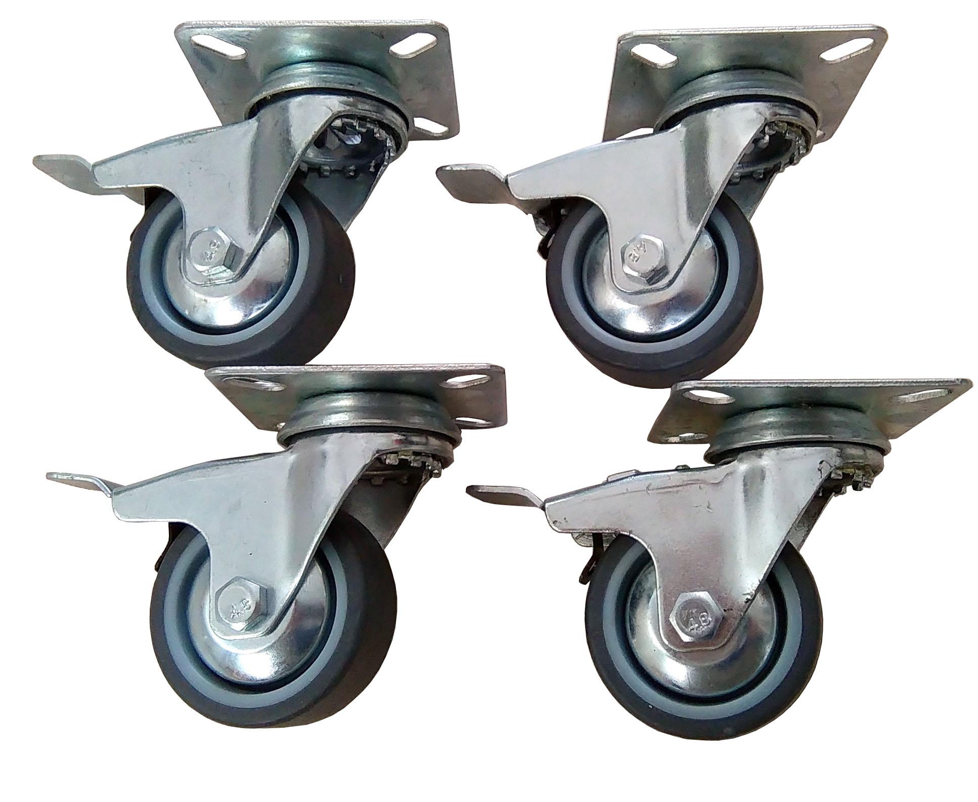 Zestaw kółek fi 50 skrętne z hamulcem kółko koło