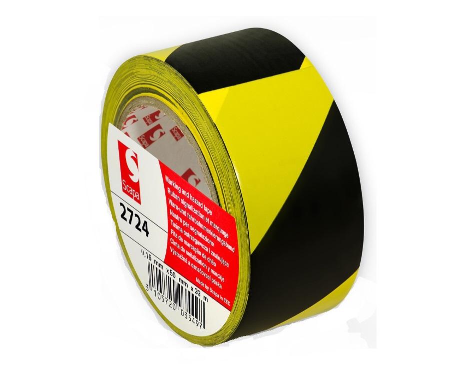 Taśma żółto/czarna ostrzegawcza SCAPA 33m samoprzy