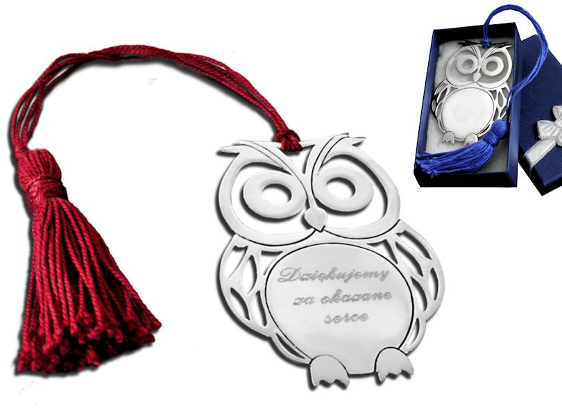 Серебряная закладка сова для книги, подарок, гравировка