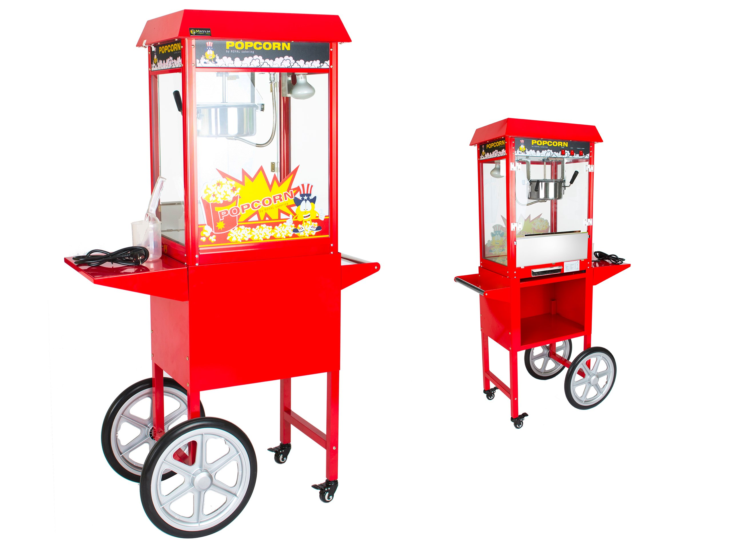 Stroj na pečený kukuricový popcorn s vozíkom