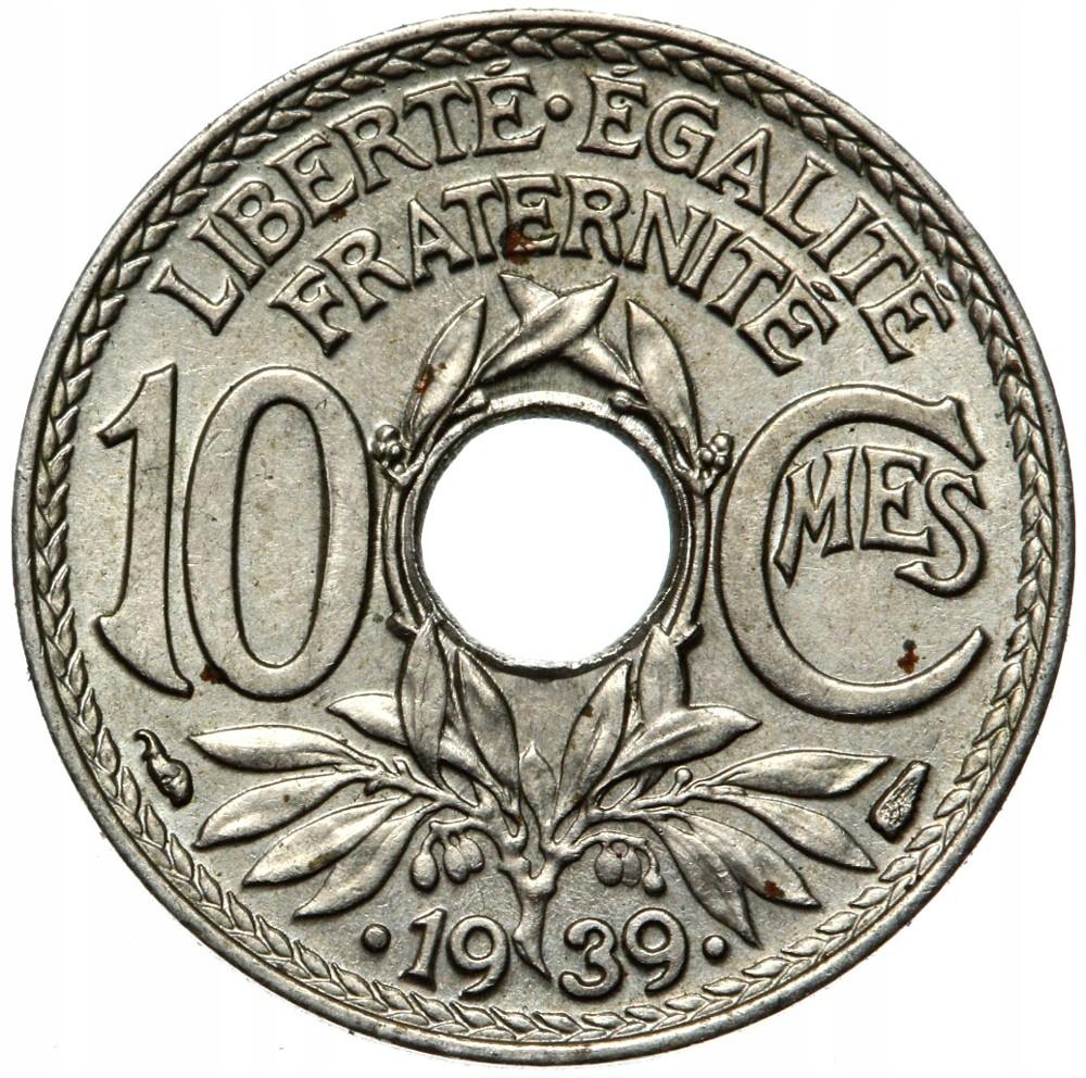 Francúzsko - mince - 10 centov 1939 - s bodkami