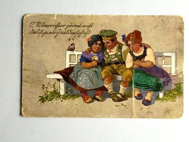 POCZTÓWKA KARTKA POCZTOWA 1917 DZIECI NA ŁAWCE