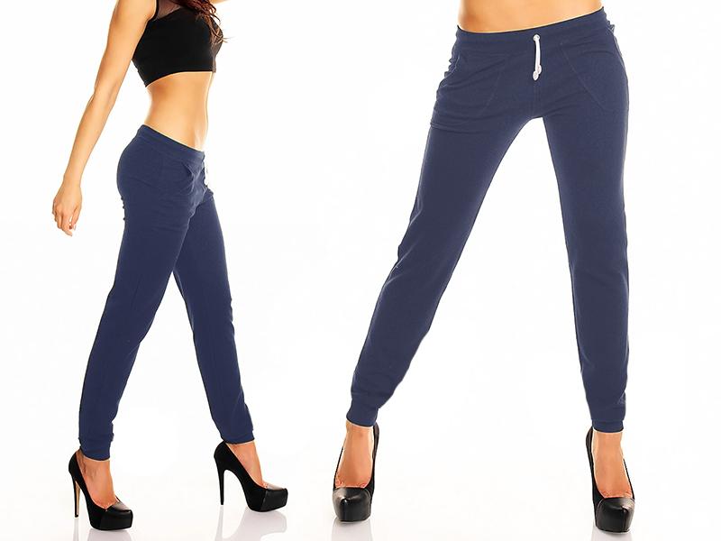 Spodnie Dresowe dresy fitness kieszenie Granat L