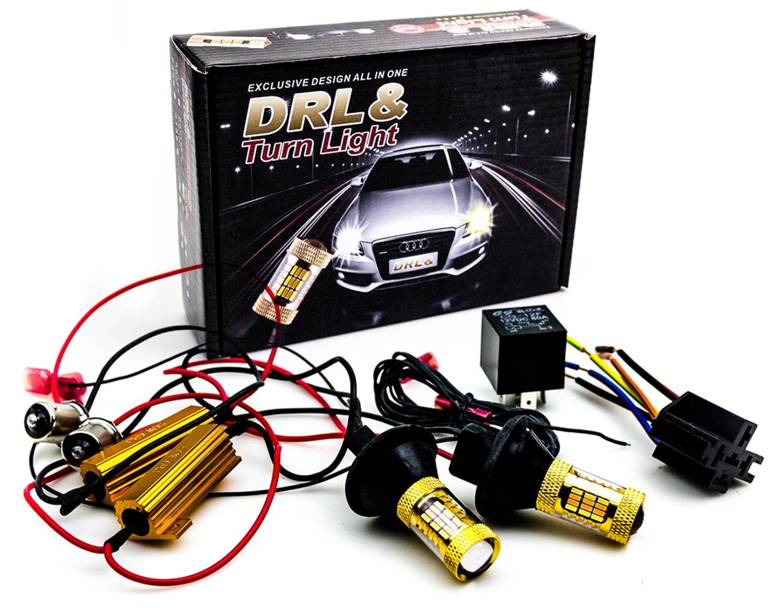 поворотники + свет led 2w1 drl bau15s py21w