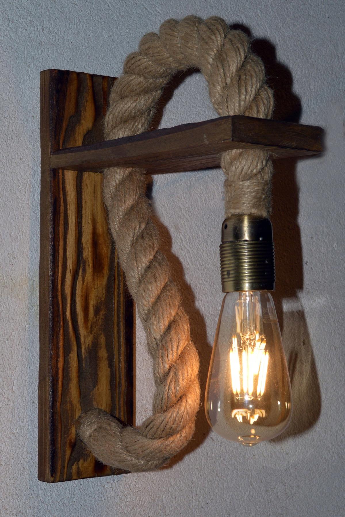 Drevené nástenné svietidlo kábel jutowy VINTAGE štýle RETRO