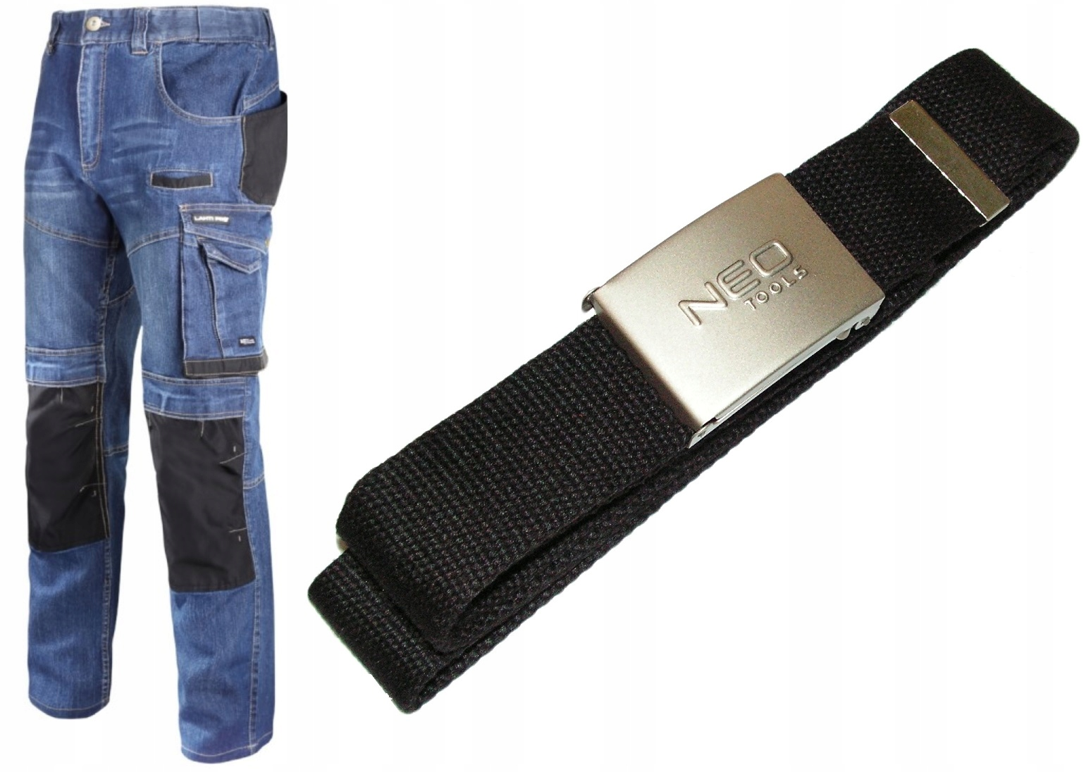 Spodnie Jeansowe Dżinsowe robocze XL LAHTI +pasek
