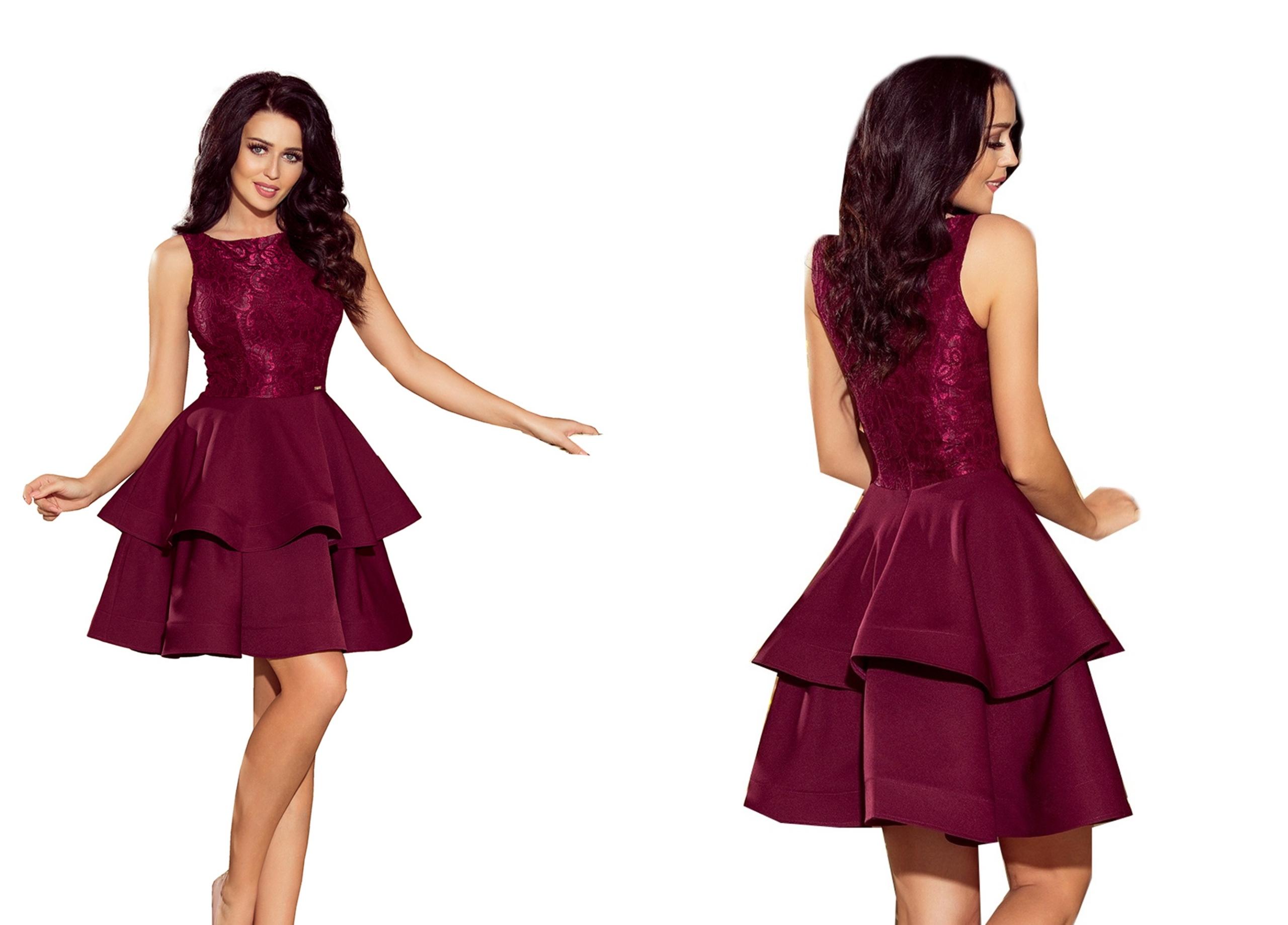 81efcdb790 Krótka MINI Sukienka IMPREZOWA Z KORONKI 205-2 S 7609241457 - Allegro.pl