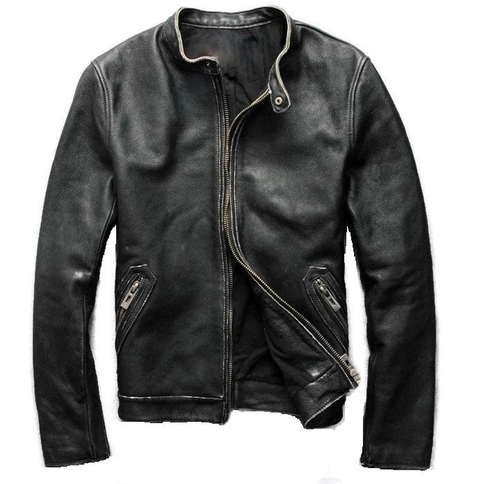 Kožená Bunda pravej Kože XXL Čierna Vintage