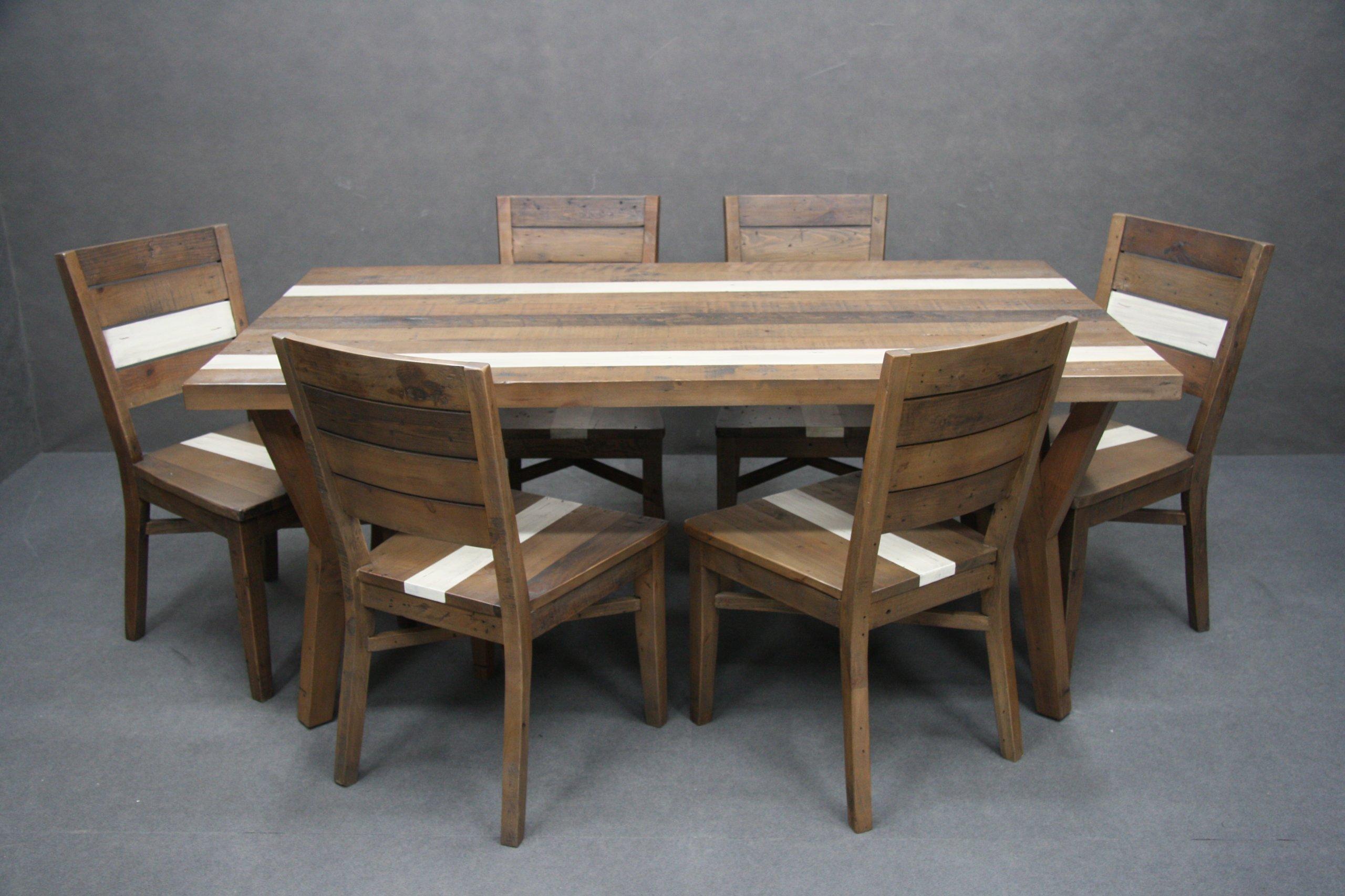 Set Stôl + 6 Stoličky z masívu VINTAGE LOFT
