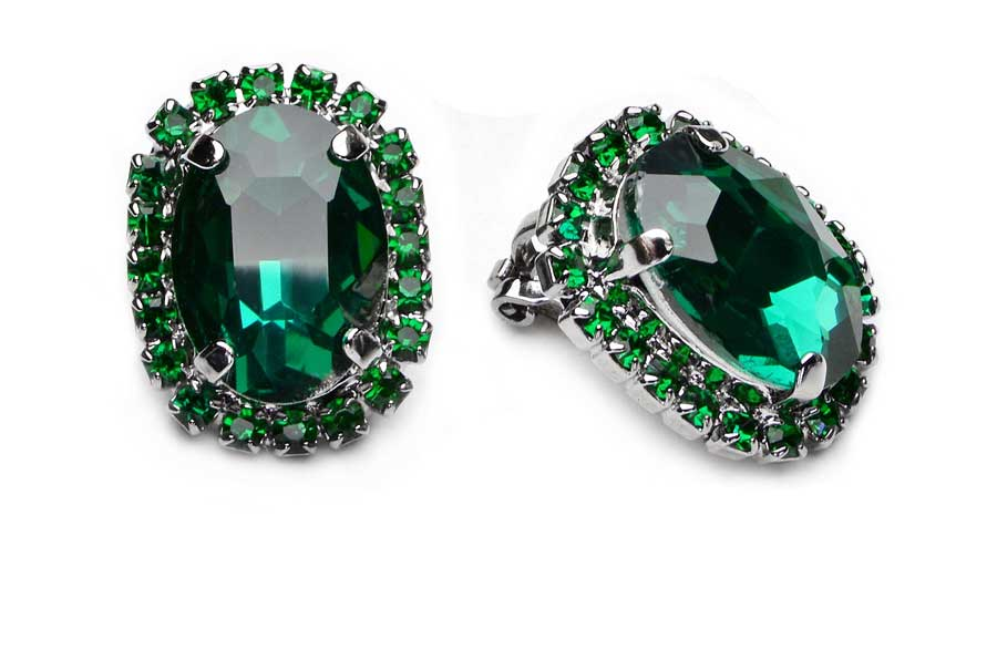 Clip-On Náušnice Smaragdovo Zelená Swarovski Elegantné Módne