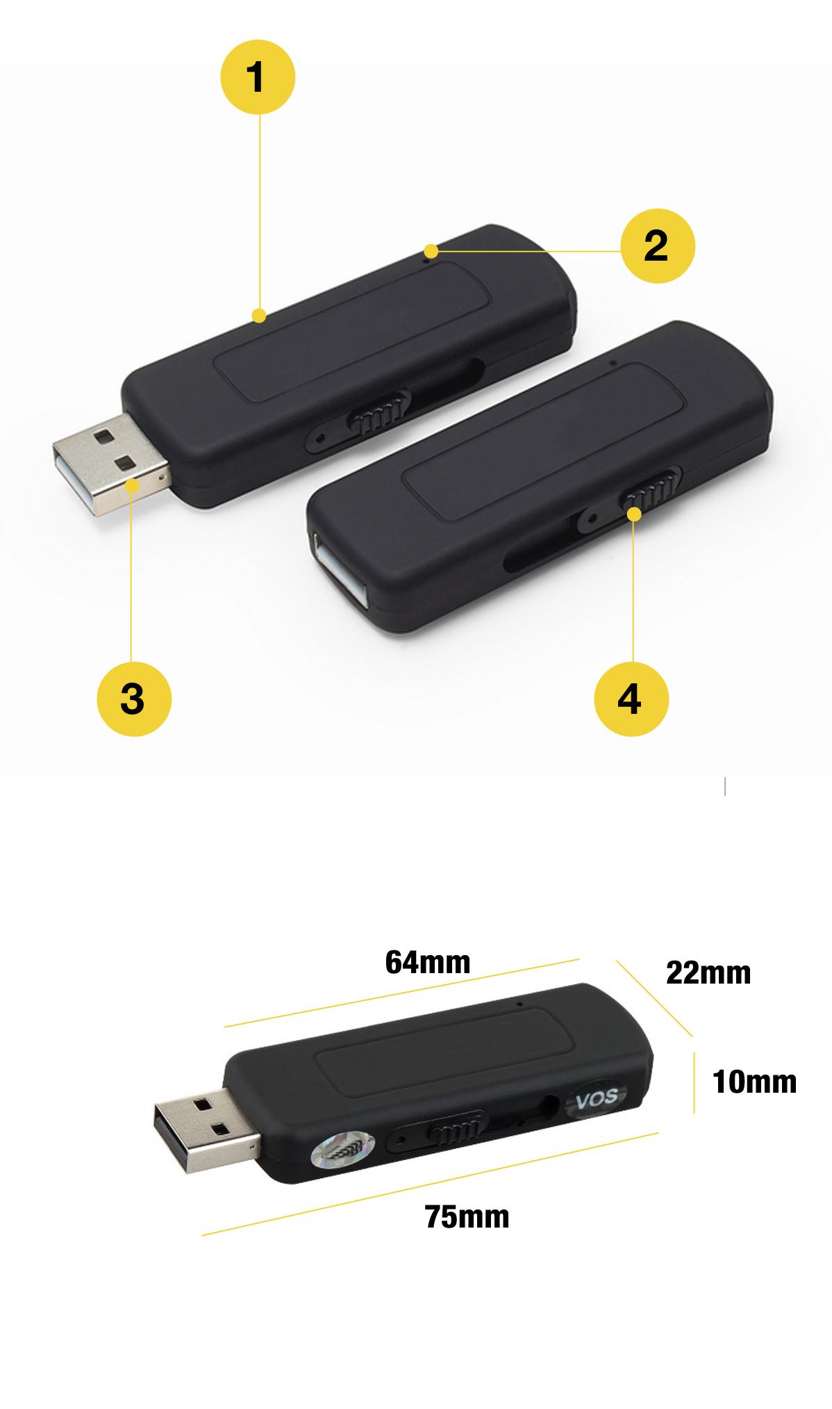 PENDRIVE DYKTAFON PODSŁUCH 8GB USB 16H DET. VOX ! Zasilanie akumulatorowe