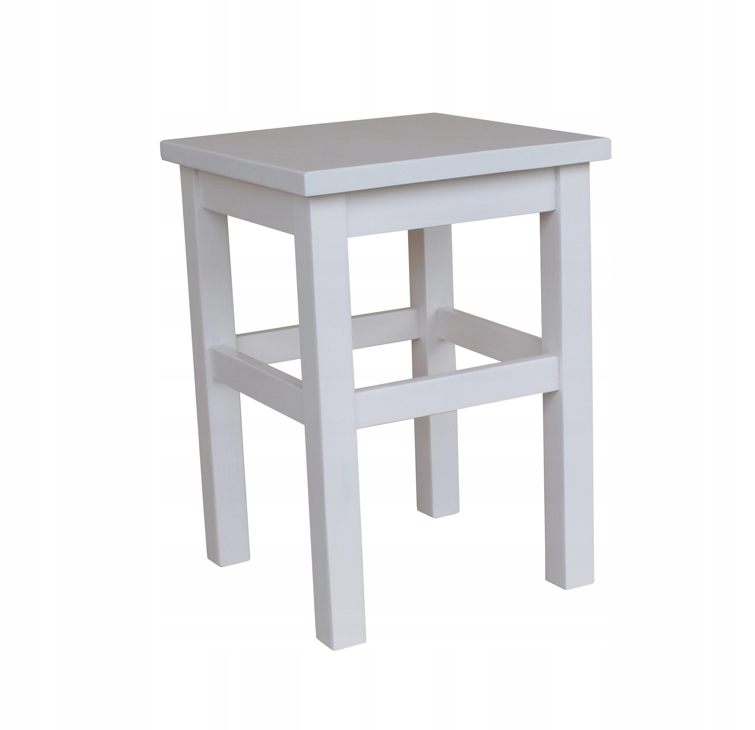 drewniane białe stołki