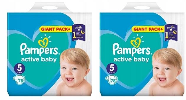 PIELUSZKI 156 SZT PAMPERS ACTIVE BABY 5 PIELUCHY