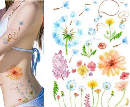Dmuchawiec Arkusz Tatuaży Kwiaty Dmuchawce Tm142