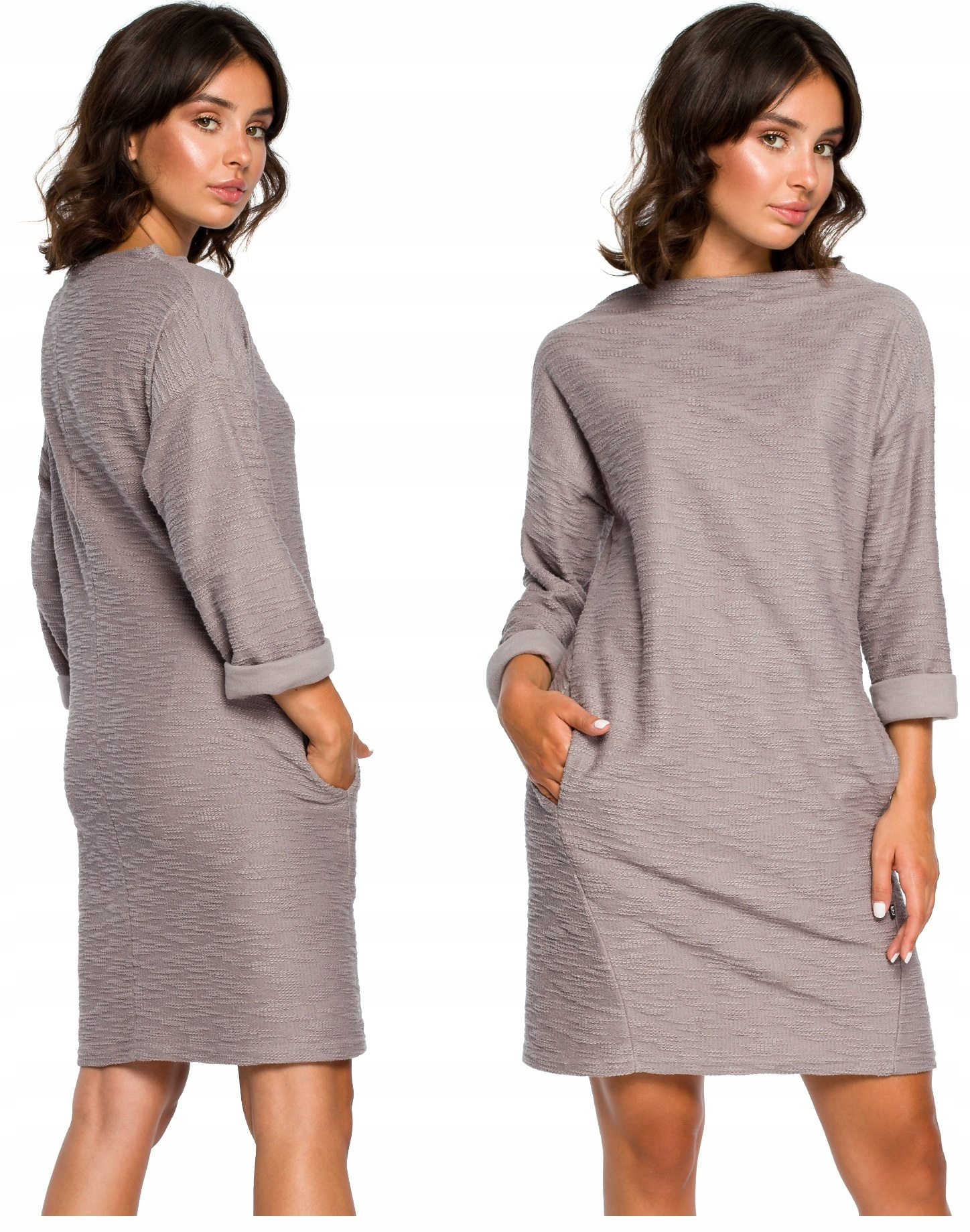 Dresowa Sukienka Trapezowa Z Kieszeniami 36