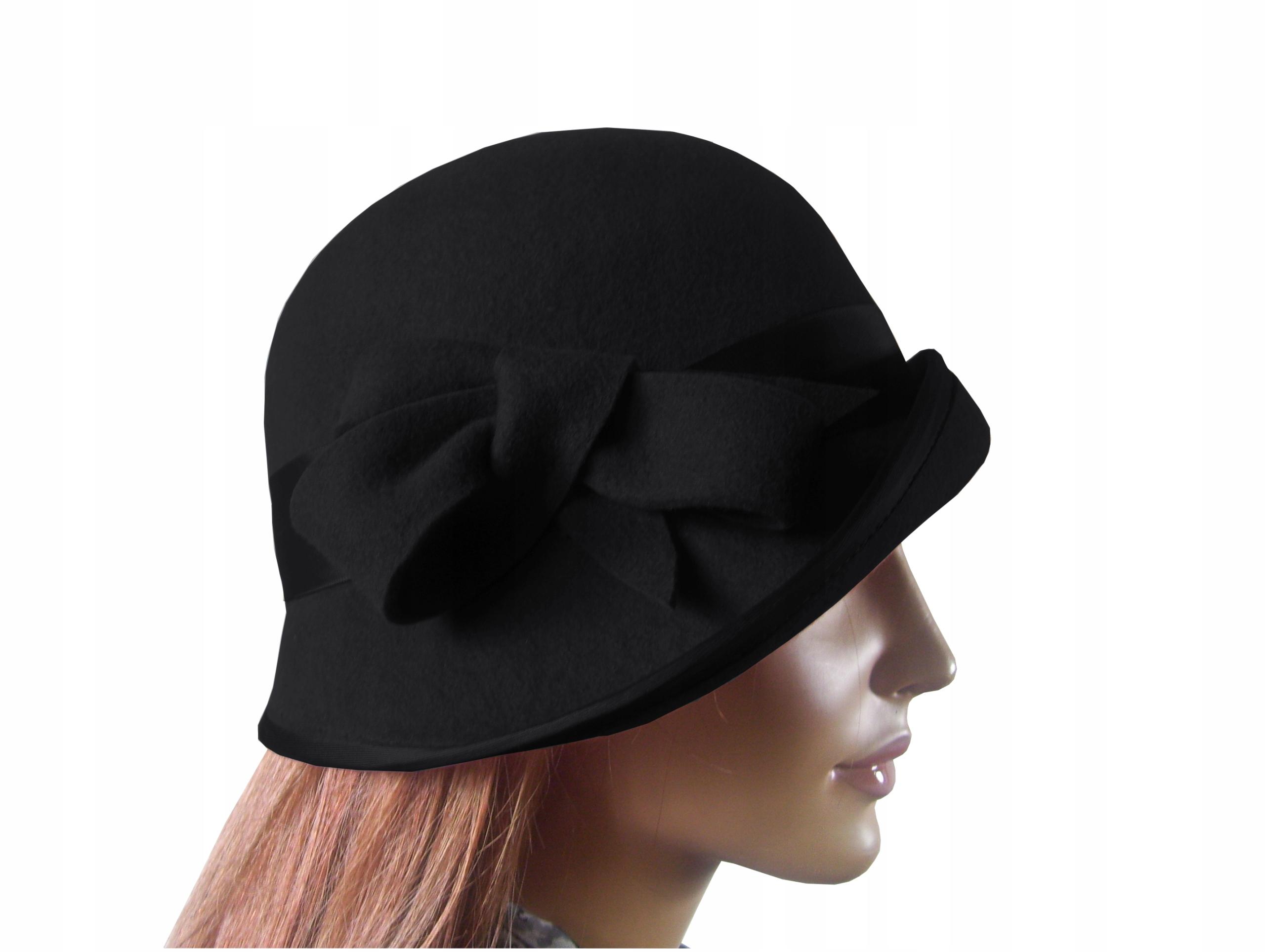 Dámska vlnená plstená čiapka retro čierna 54cm