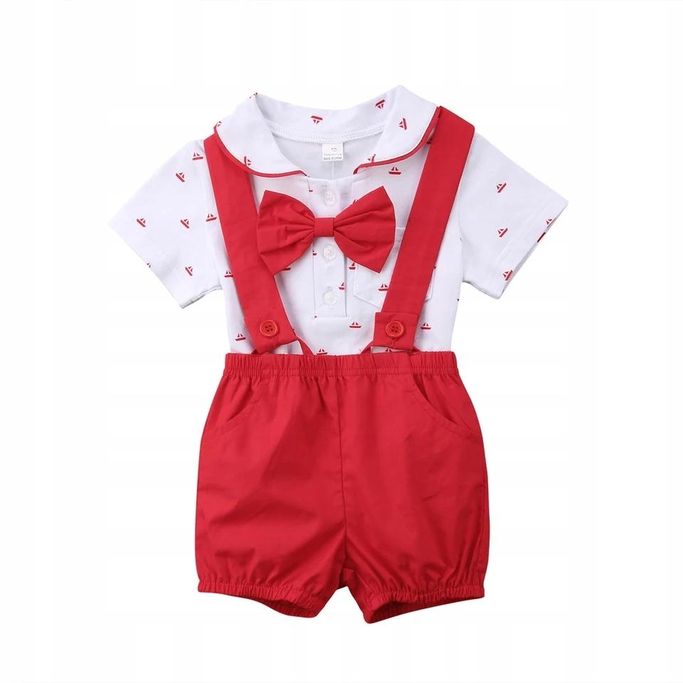 Oblek-vizitky set / tričko, krátke nohavice červená