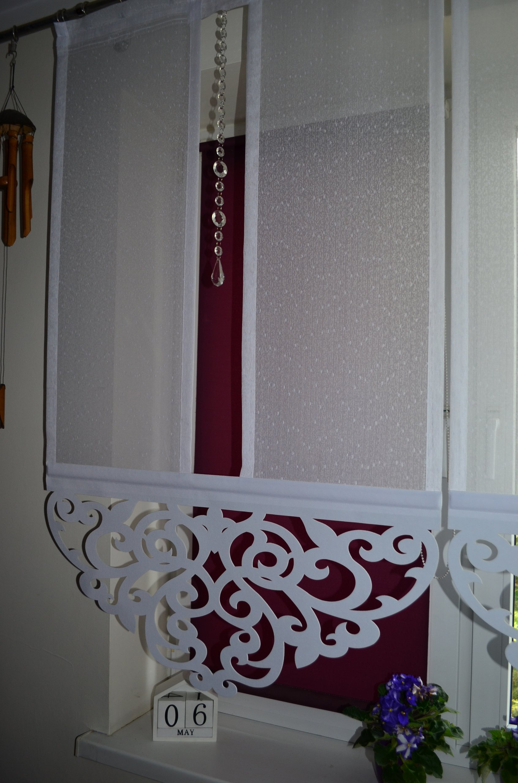 Firany Ażury Panel Ażur Z Kryształkami 100cm