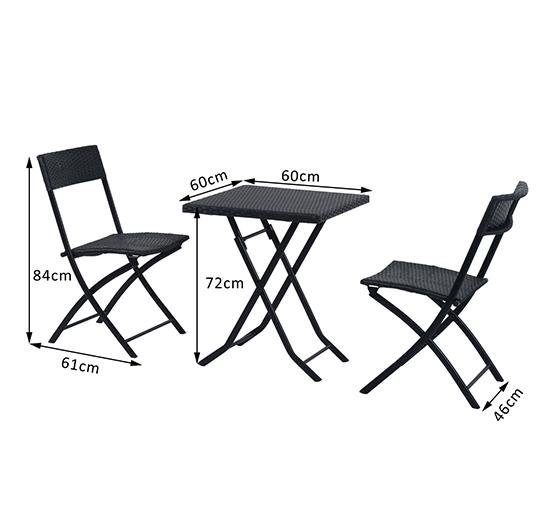 Ratanový záhradný nábytok, stôl a stoličky, sada čierna Kód produktu 841-093
