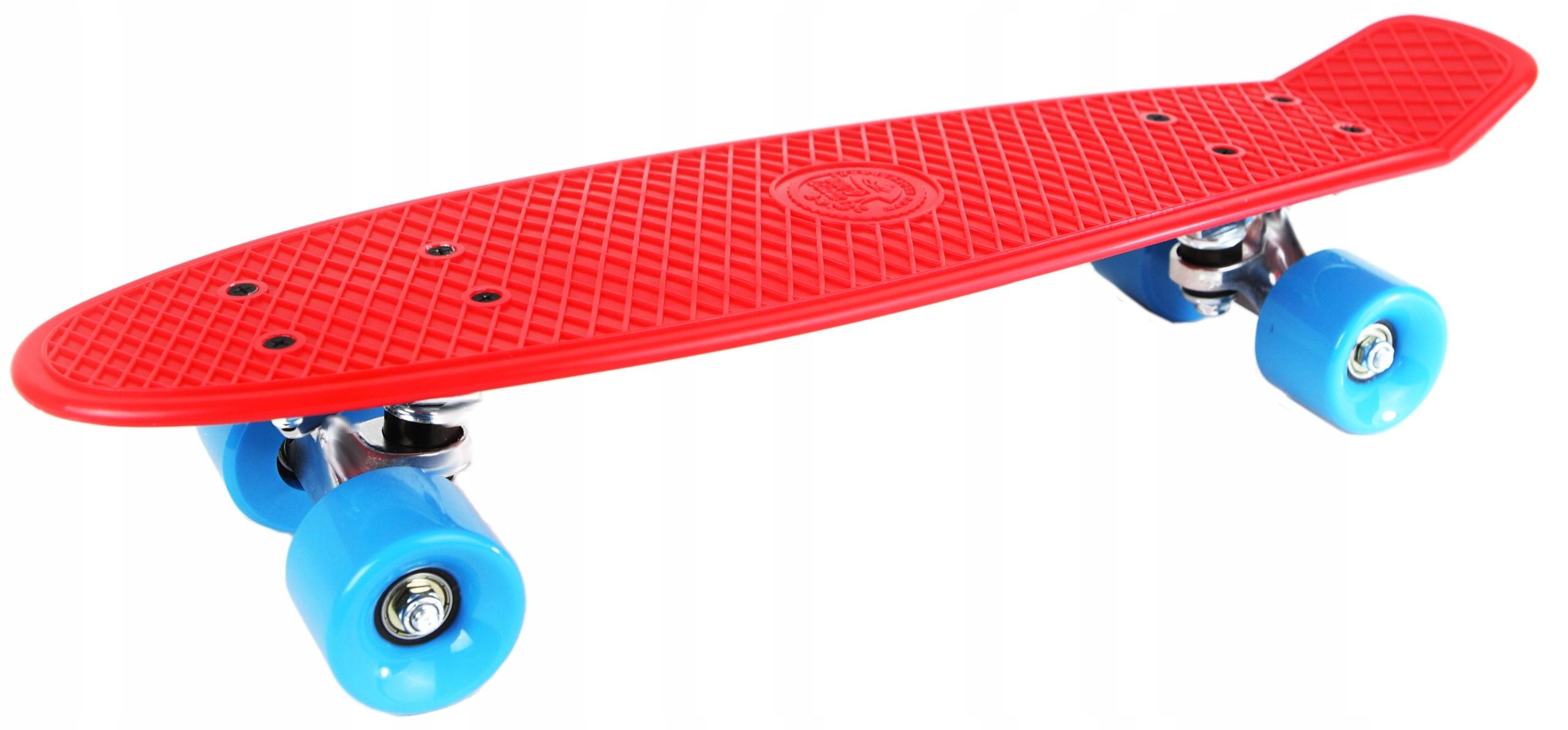 Červeno-modrý skateboard PROMO
