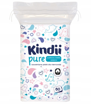 Kindii Pure лепестки хлопчатобумажные для детей 60szt.