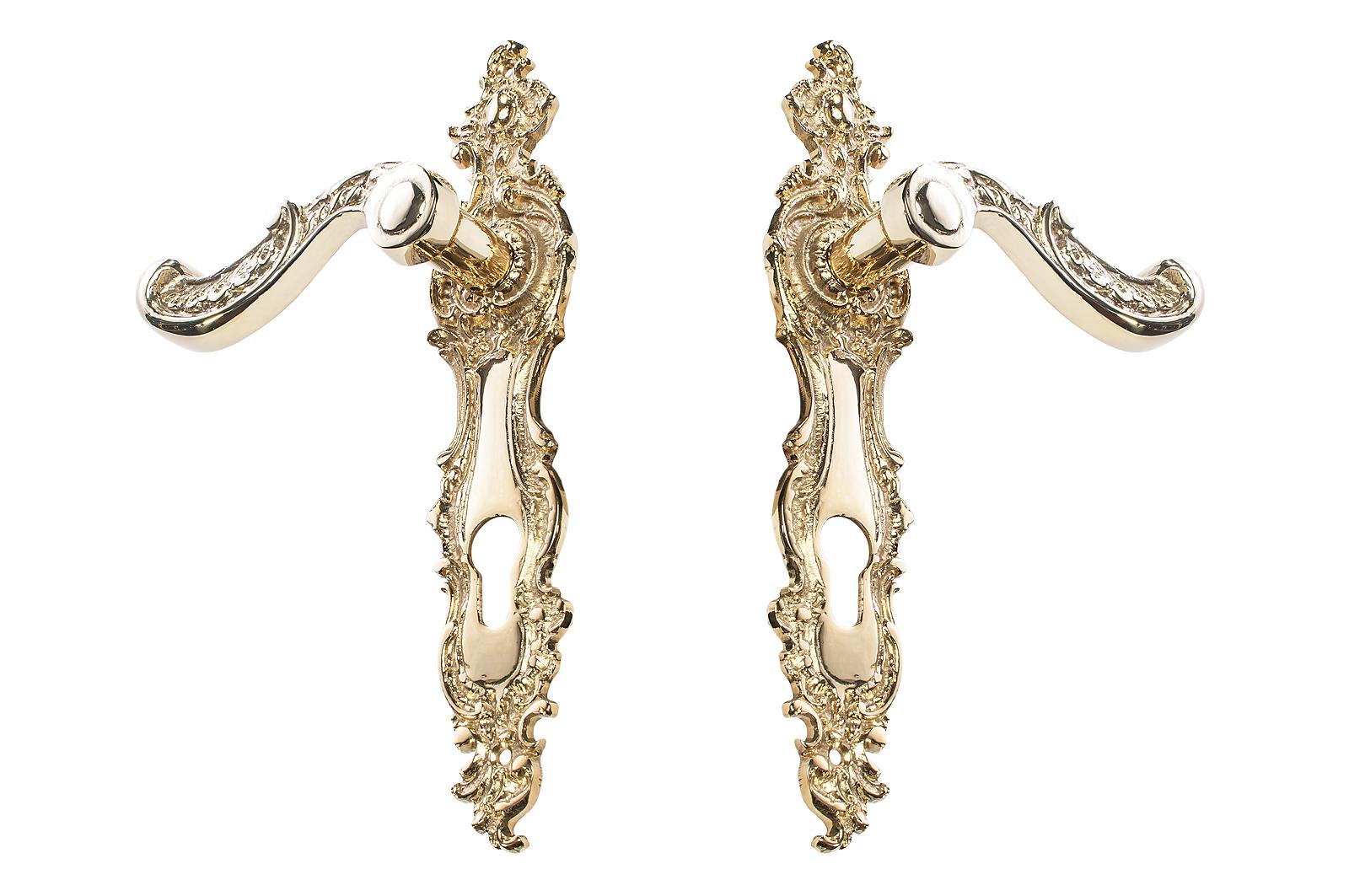 Retro mosadzná kľučka na dvere s vložkou z mosadze 72