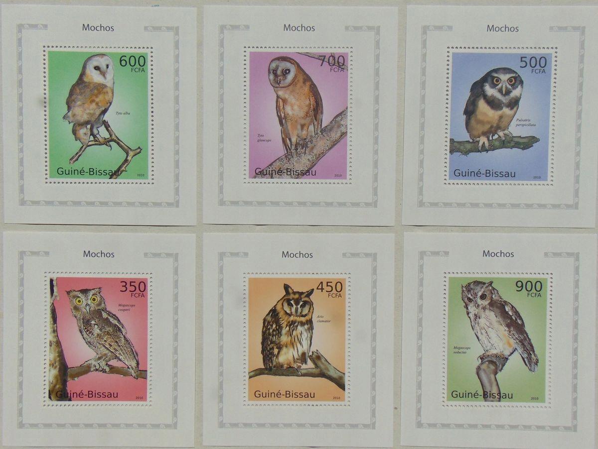 Купить СОВЫ птицы Гвинея-Бисау компл. 6 bl. LUX #GB10614d на Otpravka - цены и фото - доставка из Польши и стран Европы в Украину.
