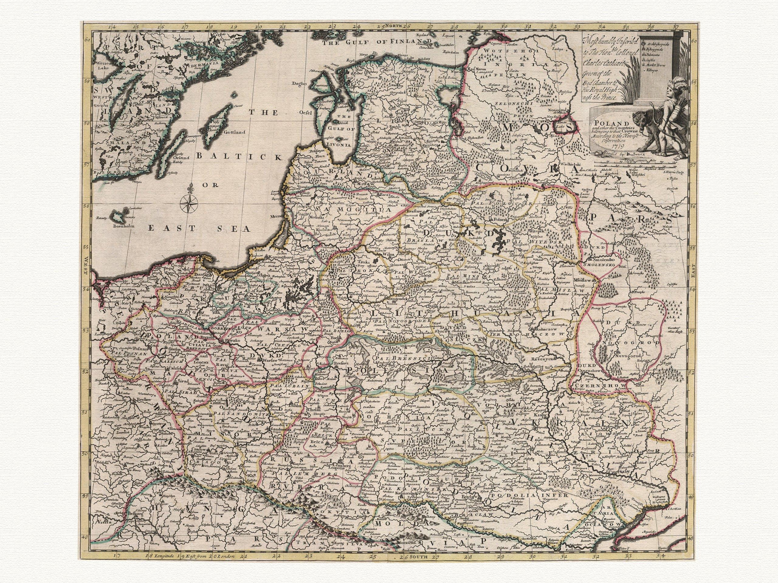 Item POLAND decorative map Senex 1721. canvas