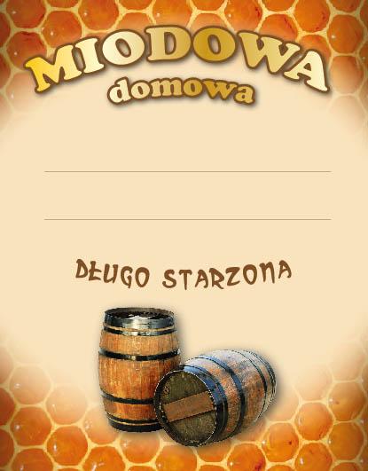 Etykiety na domową nalewkę MIODOWA DOMOWA 10x