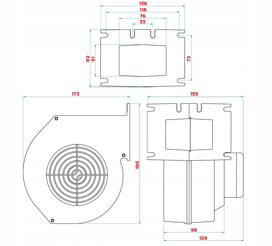 VENTILÁTOR pre pec CH kotol DM 120 KOTLOVÝ PEC Hmotnosť produktu s samostatným balením 2,8 kg