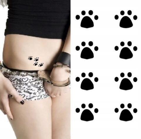 ślady Kotka łapki Tatuaż Z łapkami Naklejka M15