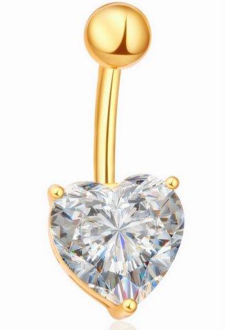 Item Earrings navel GOLD HEART CRYSTAL 9mm -316L