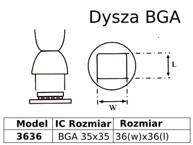 Spájkovacia tryska pre stanicu HotAir BGA 35x35mm 3636