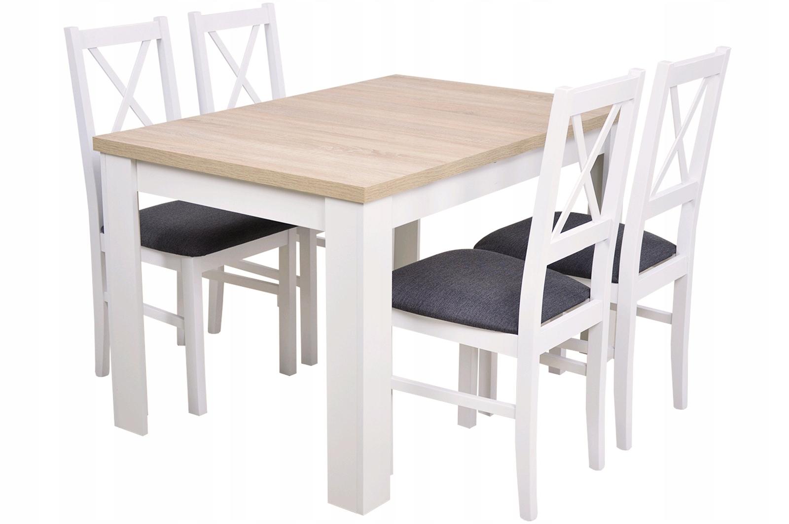 Купить БЕЛЫЙ Набор комнат обеденный Стол и 4 деревянных СТУЛА на Otpravka - цены и фото - доставка из Польши и стран Европы в Украину.