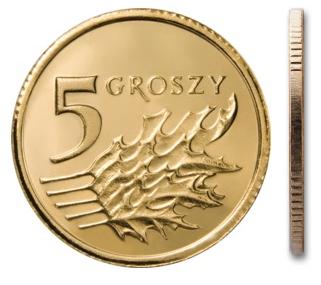 Монета MW 5 грошей 2014 монетного двора из мешочка