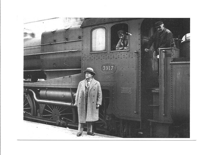 Pocztówka - Kompozytor, kolejarze i lokomotywa