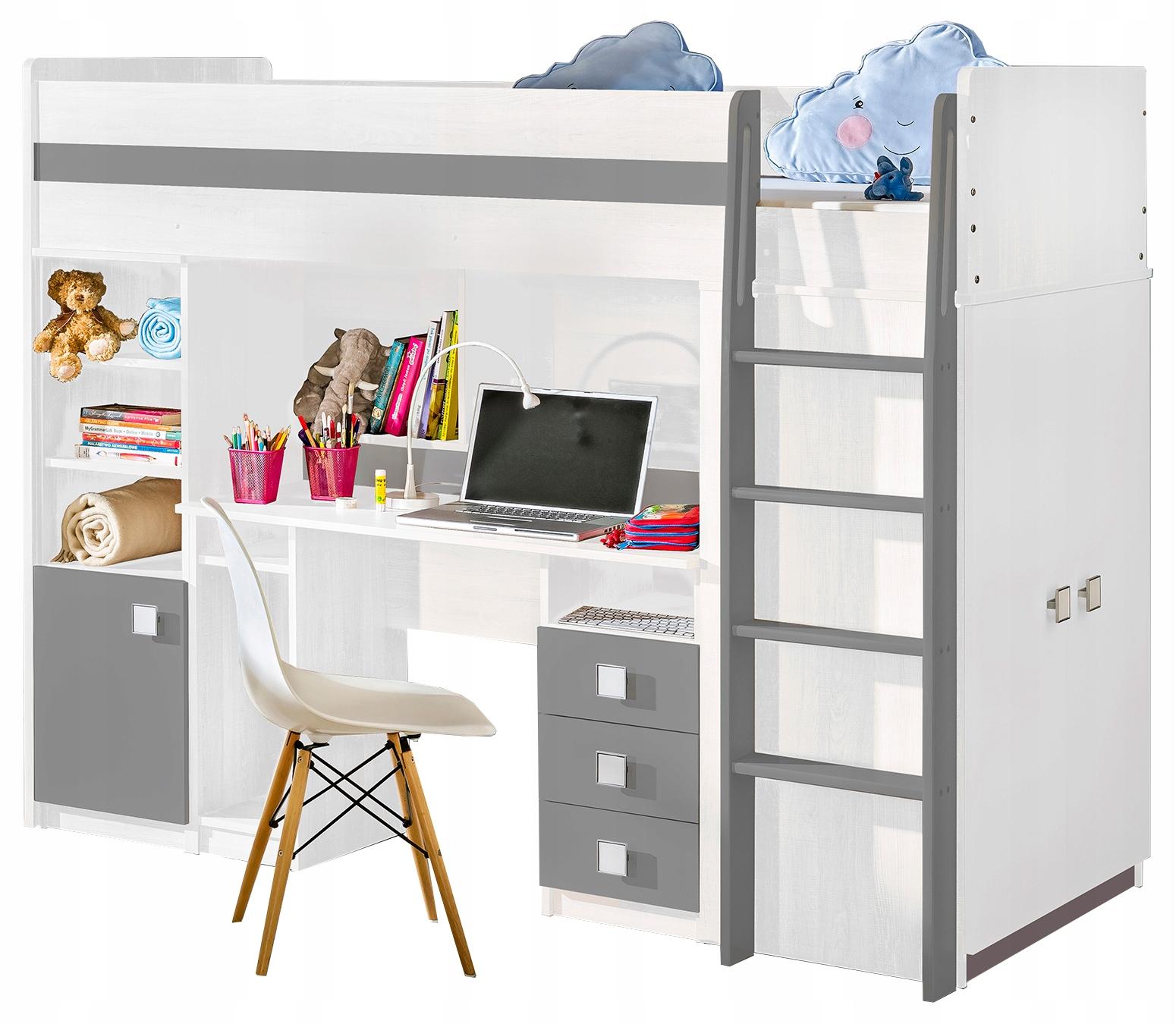 łóżko piętrowe z biurko szafa regał UNO biały