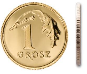 Монета 1 грош 2001 монетного двора с мешочком