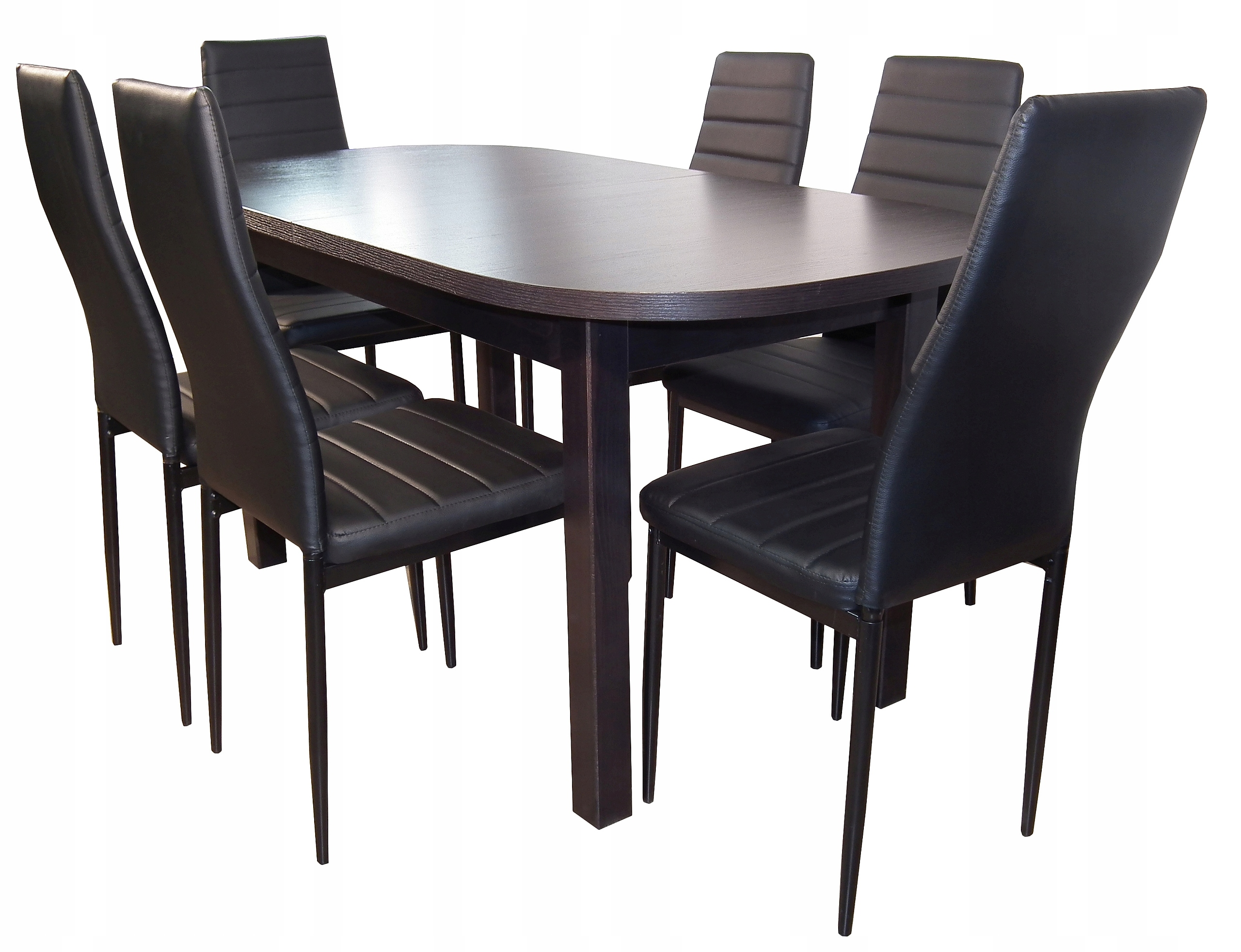 80/160/200 oválny stôl + 6 stoličiek eko koža