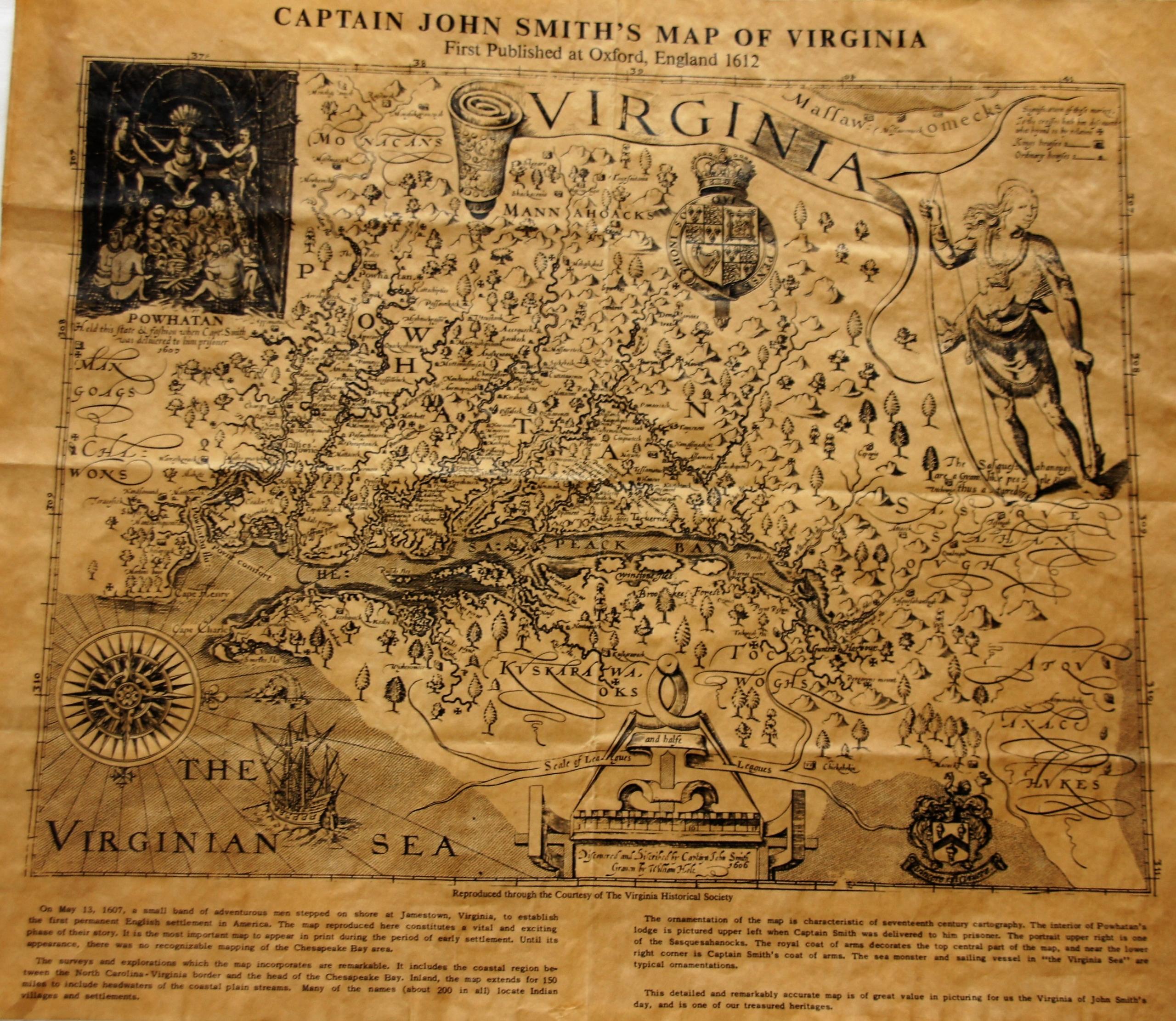 MAPA VIRGINII JOHN SMITH'S ANGLIA 1612