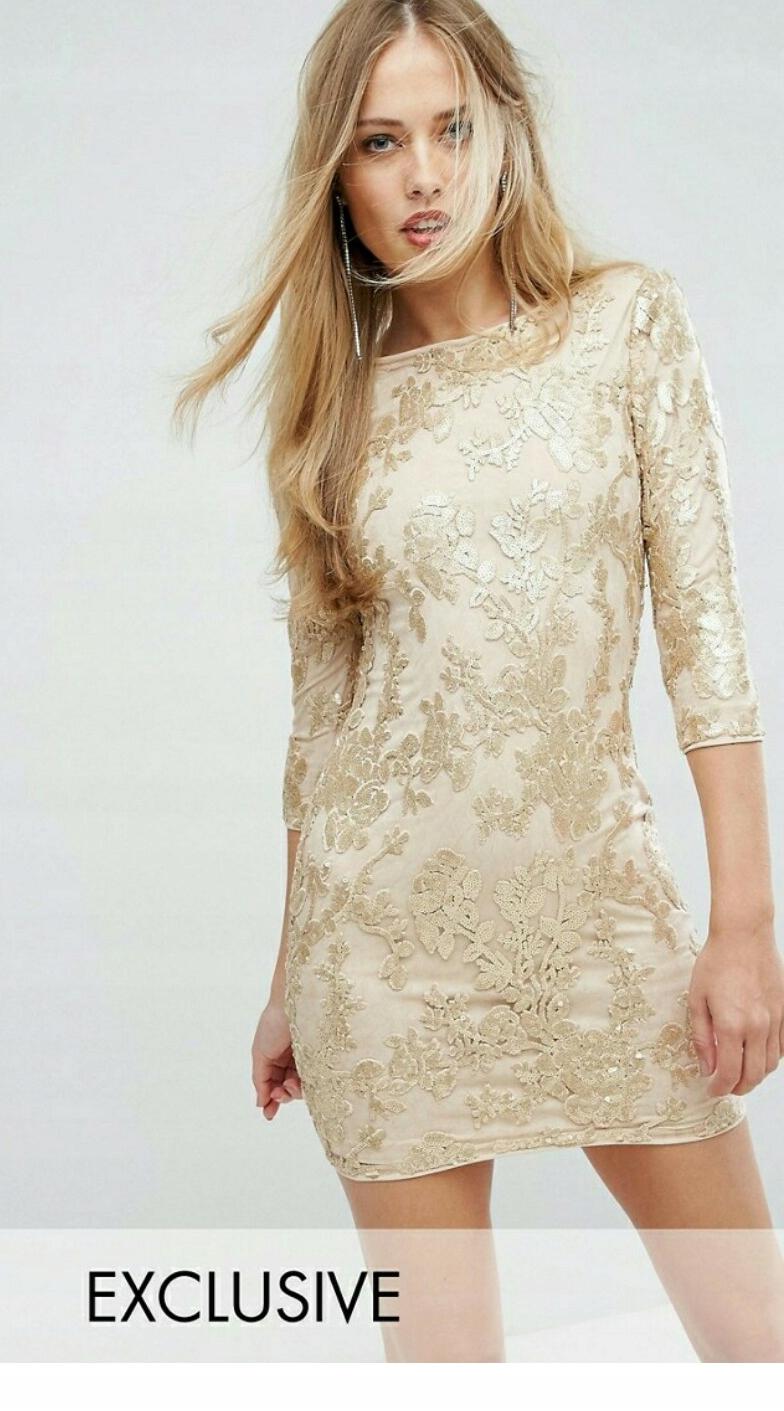 38dcb36ba056da Sukienka Tfnc 36 s złota cekiny mini sylwester - 7682651489 ...