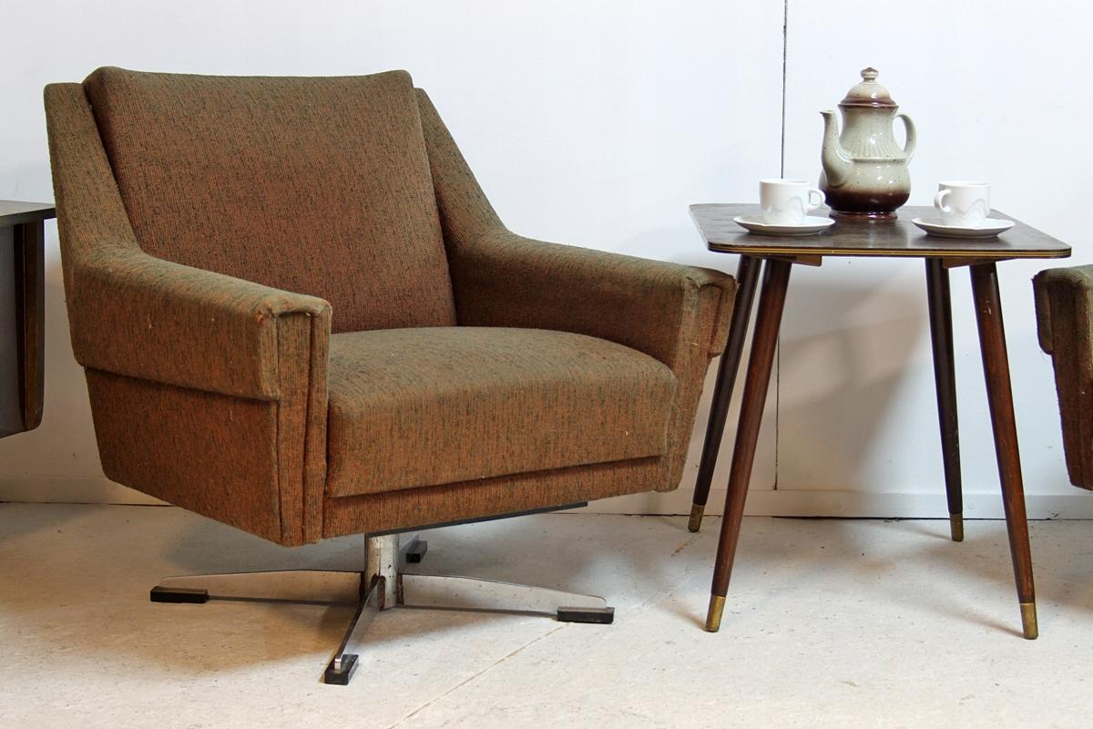Fotel Klubowy Obrotowy Retro Vintage Prl Lata 60