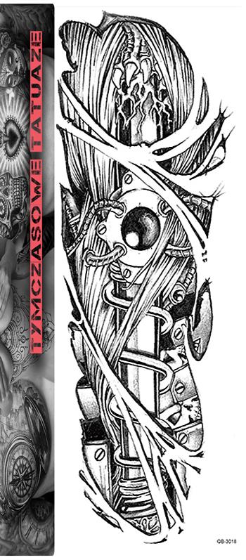 Tatuaż Na Całą Rękę 45cm X 15cm Rękaw 3d Sztylet