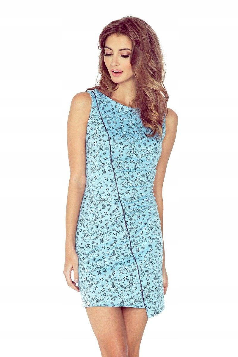 b2cfbb846a MM004-5 Sukienka asymetryczna BŁĘKITNA w kwiaty S - 7006227762 ...